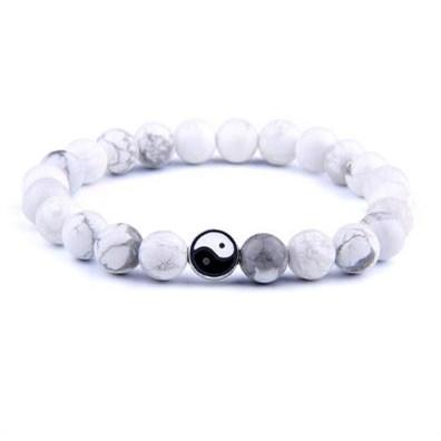 Kralen armband Yin Yang - Wit / Grijs