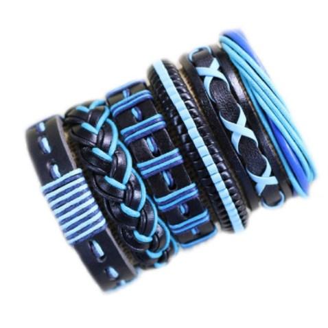 Leren Armband - Blauw Zwart