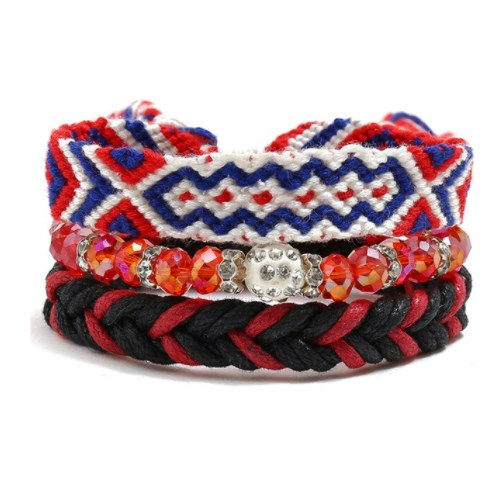 Armband Bohemian - Rood / Zwart / Blauw
