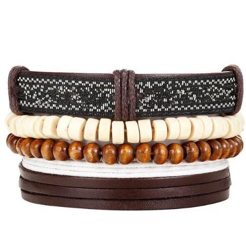 Leren Armband - Bruin / Beige