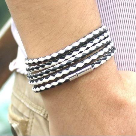 Armband Leer - Grijs/Wit 93cm