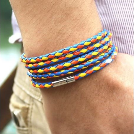 Armband Leer - Multi Color 93cm