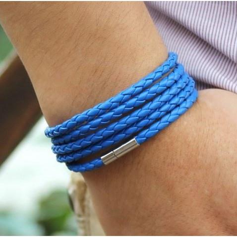 Armband Leer - Blauw 93cm