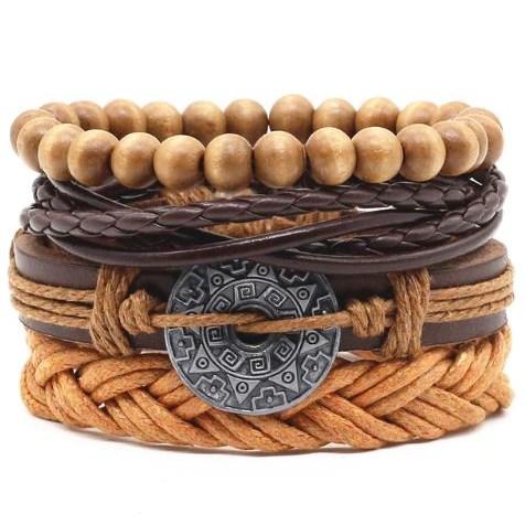 Leren Armband met kralen - Bruin