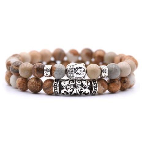 Armband Boeddha - Bruin / Grijs