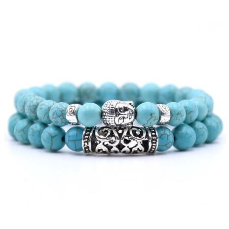 Armband Boeddha - Lichtblauw
