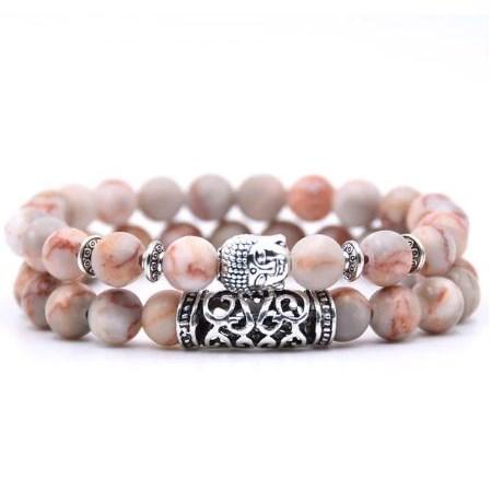 Armband Boeddha - Roze / Wit