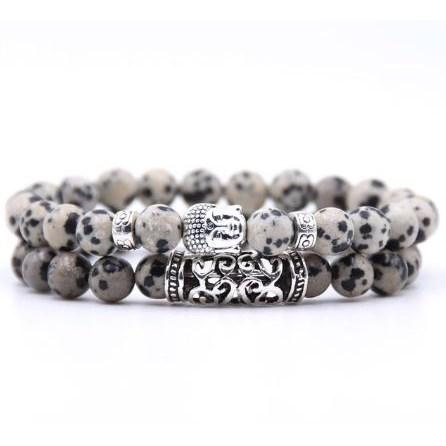 Armband Boeddha - Ecru / Zwart
