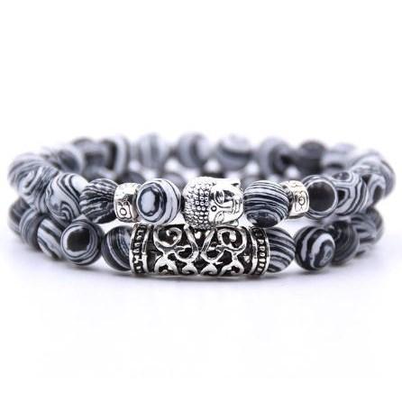 Armband Boeddha - Zwart / Wit
