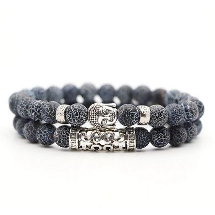 Armband Boeddha - Donkerblauw / Wit