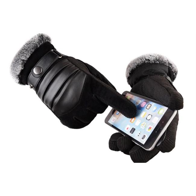 Touchscreen Handschoenen Leer (H) - Zwart