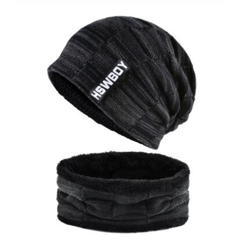 Wintermuts met sjaal - Zwart/Grijs
