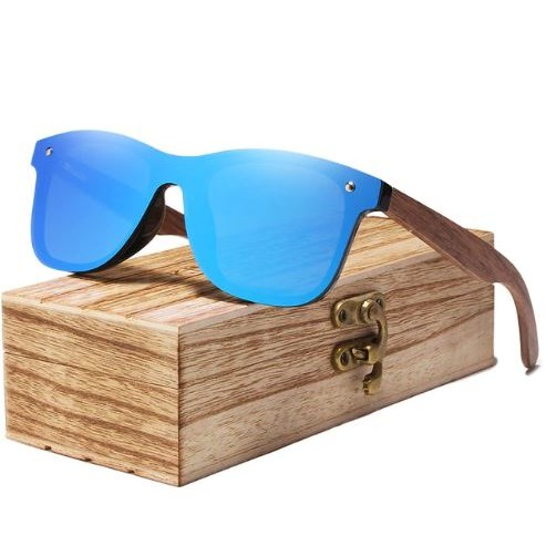 Houten Zonnebril - Blauw