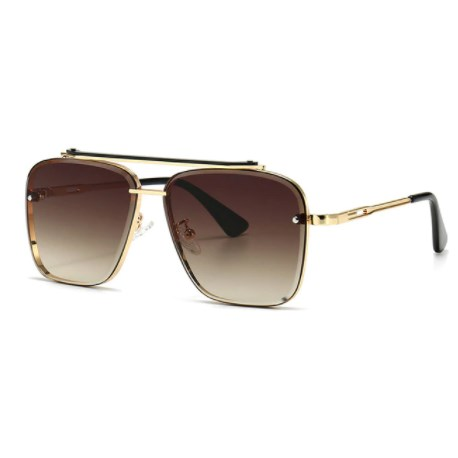 Oversized vintage zonnebril - Bruin/Goud