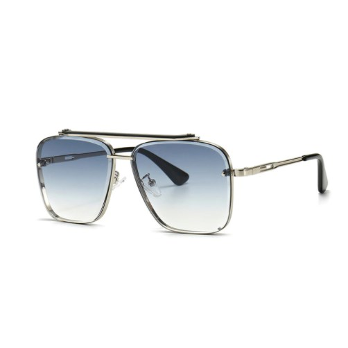 Oversized vintage zonnebril - Blauw/Zilver