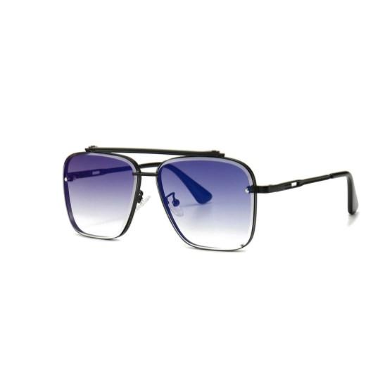 Oversized vintage zonnebril - Blauw/Zwart