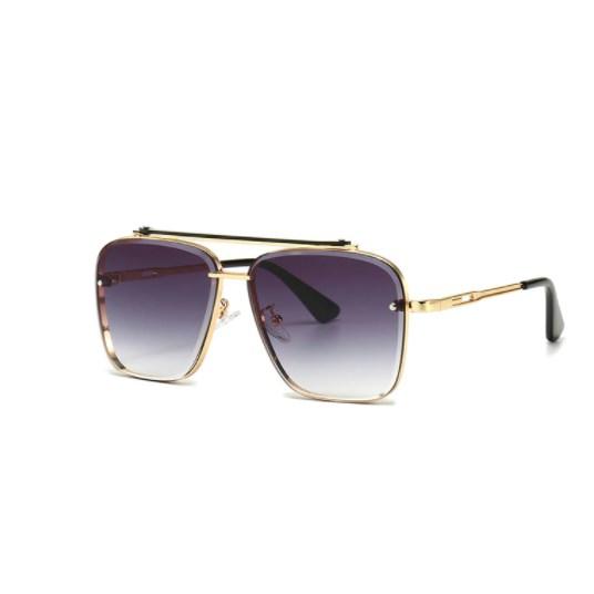 Oversized vintage zonnebril - Grijs/Goud